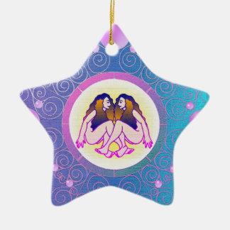Ornement Étoile En Céramique Gémeaux d'ornement de signe d'étoile
