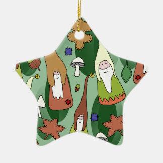 Ornement Étoile En Céramique Gnomes de région boisée