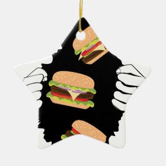 Ornement Étoile En Céramique Grand hamburger savoureux et Hands3