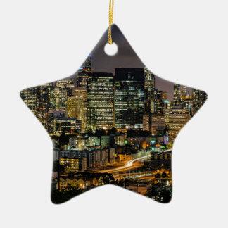 Ornement Étoile En Céramique Horizon de Seattle la nuit