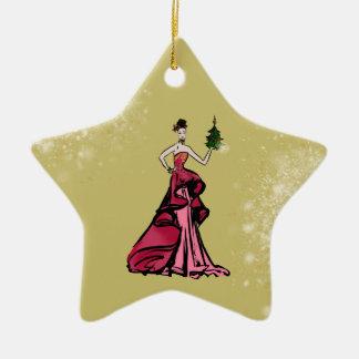 Ornement Étoile En Céramique Illustration de mode de Noël avec l'arbre