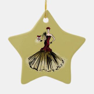 Ornement Étoile En Céramique Illustration de mode de Noël avec le colis