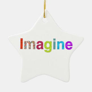 Ornement Étoile En Céramique Imaginez le cadeau coloré d'inspiration