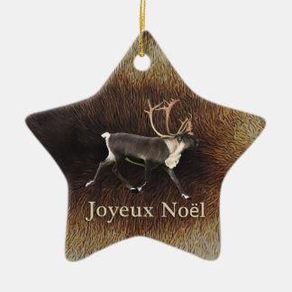 Ornement Étoile En Céramique Joyeux Noёl - caribou de Taureau (renne)