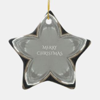 Ornement Étoile En Céramique Joyeux Noël d'étoile brillante grise blanche