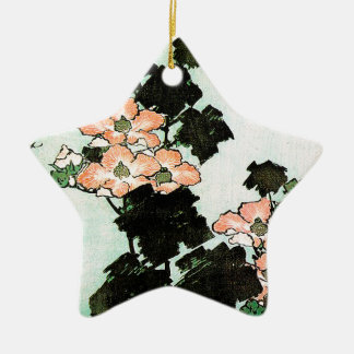 Ornement Étoile En Céramique Katsushika Hokusai (葛飾北斎) - ketmie et moineau