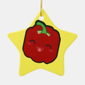 Ornement Étoile En Céramique Kawaii et poivron rouge drôle