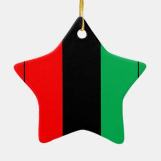 Ornement Étoile En Céramique Kwanzaa colore le motif vert noir rouge de rayures