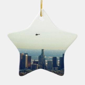 Ornement Étoile En Céramique LA et hélicoptère