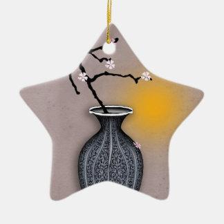 Ornement Étoile En Céramique la lune élégante des fernandes et la fleur de 9