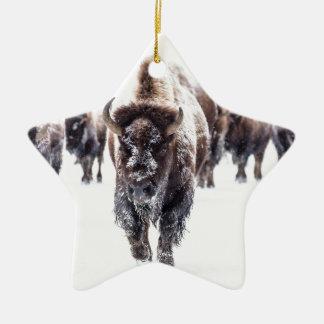 Ornement Étoile En Céramique La neige a couvert le bison, le parc national en