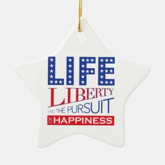 Ornement Étoile En Céramique La vie, liberté et la poursuite du bonheur