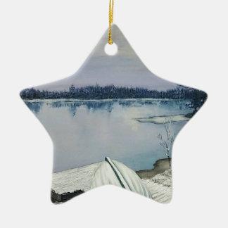 Ornement Étoile En Céramique Lac forest