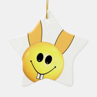 Ornement Étoile En Céramique Lapin heureux souriant pour Pâques
