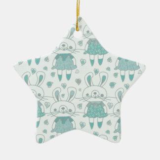 Ornement Étoile En Céramique Lapins heureux dans le bleu