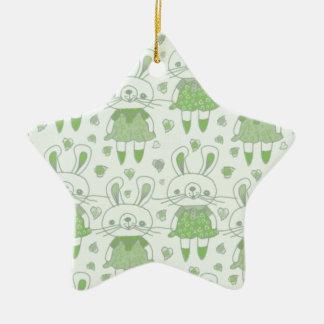 Ornement Étoile En Céramique Lapins heureux en vert