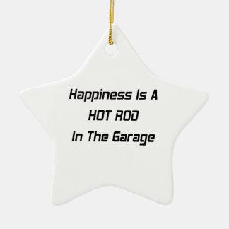 Ornement Étoile En Céramique Le bonheur est un hot rod dans le garage
