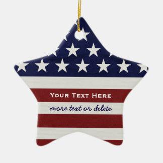 Ornement Étoile En Céramique Les Etats-Unis drapeau américain Noël patriotique