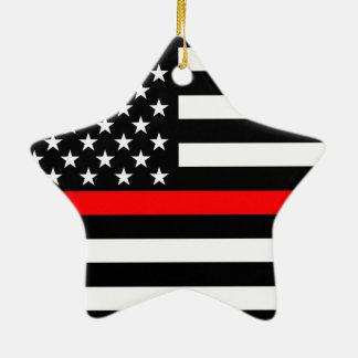 Ornement Étoile En Céramique Les Etats-Unis marquent la ligne rouge mince noire