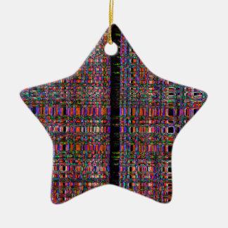 Ornement Étoile En Céramique Lignes au néon rougeoyantes abstraites motif