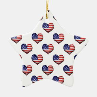 Ornement Étoile En Céramique Motif en forme de coeur grunge de drapeau des