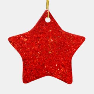 Ornement Étoile En Céramique Motif lumineux chic de fête de couleur rouge