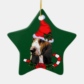 Ornement Étoile En Céramique Noël de Basset Hound