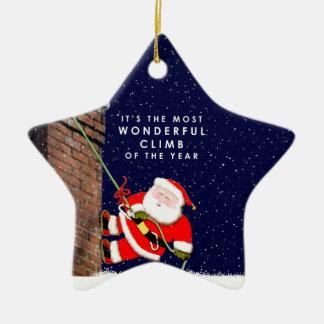 Ornement Étoile En Céramique Noël de grimpeur de roche