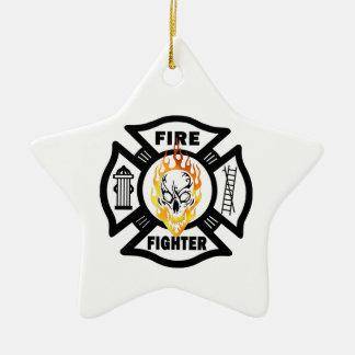 Ornement Étoile En Céramique Noël de sapeur-pompier