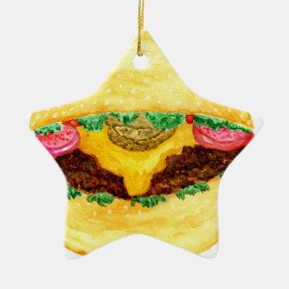 Ornement Étoile En Céramique Nourriture 2 d'hamburger