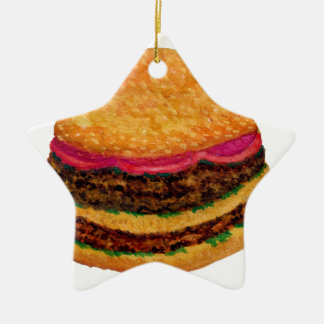 Ornement Étoile En Céramique Nourriture 3 d'hamburger