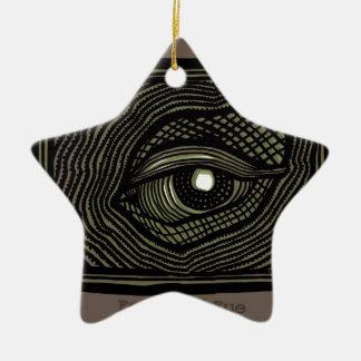 Ornement Étoile En Céramique Oeil gravé
