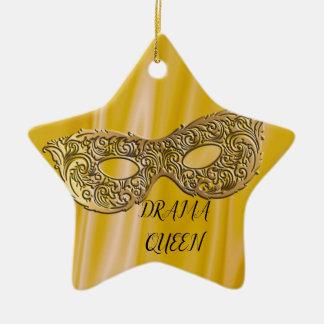 Ornement Étoile En Céramique Or de masque de mascarade de la reine | de drame
