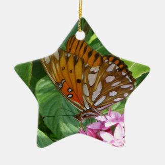 Ornement Étoile En Céramique Papillon de passiflore