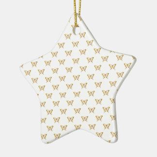 Ornement Étoile En Céramique Papillons métalliques de feuille d'or sur le blanc