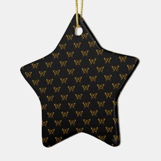 Ornement Étoile En Céramique Papillons métalliques de feuille d'or sur le noir