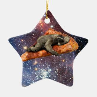 Ornement Étoile En Céramique Paresse de pizza dans l'espace