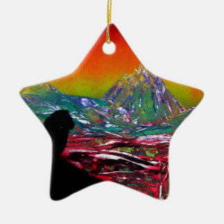 Ornement Étoile En Céramique Peinture d'art de peinture de jet de paysage de