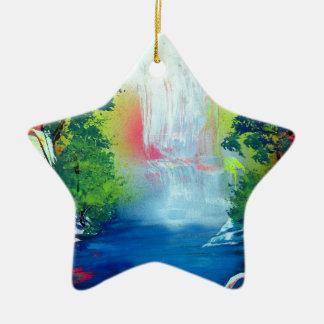 Ornement Étoile En Céramique Peinture de coucher du soleil de cascade de forêt