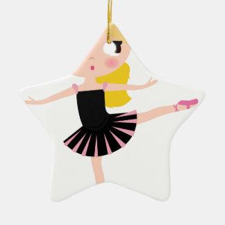 Ornement Étoile En Céramique Petit noir de fille de ballerine avec blond