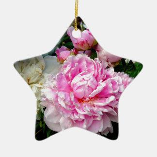 Ornement Étoile En Céramique Pivoines roses et blanches