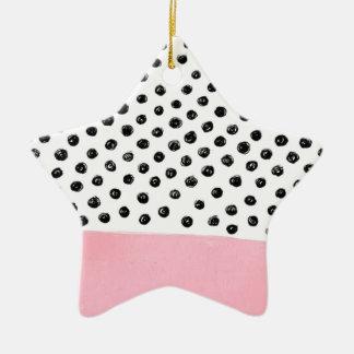 Ornement Étoile En Céramique Point de polka rose de très bon goût