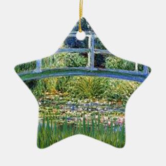 Ornement Étoile En Céramique Pont d'étang de lis - insérez votre animal