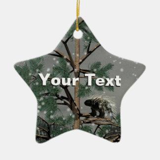 Ornement Étoile En Céramique Porc-épic dans un pin