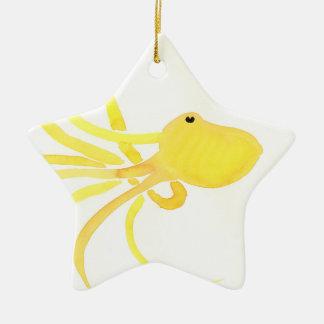 Ornement Étoile En Céramique Poulpe jaune