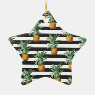 Ornement Étoile En Céramique rayures d'ananas grises