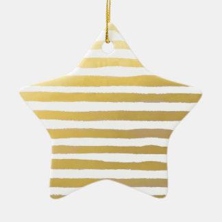 Ornement Étoile En Céramique Rayures d'aquarelle de traçage d'or