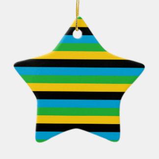 Ornement Étoile En Céramique Rayures de drapeau de la Tanzanie