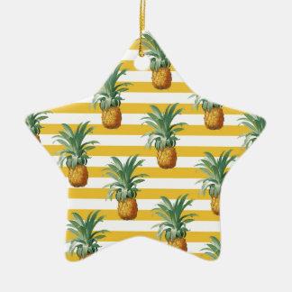 Ornement Étoile En Céramique rayures jaunes de pinepples
