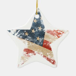Ornement Étoile En Céramique Regard détruit par cru d'étoile de drapeau